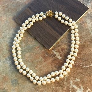 Vintage Faux Pearl Double Strand Necklace Ivory